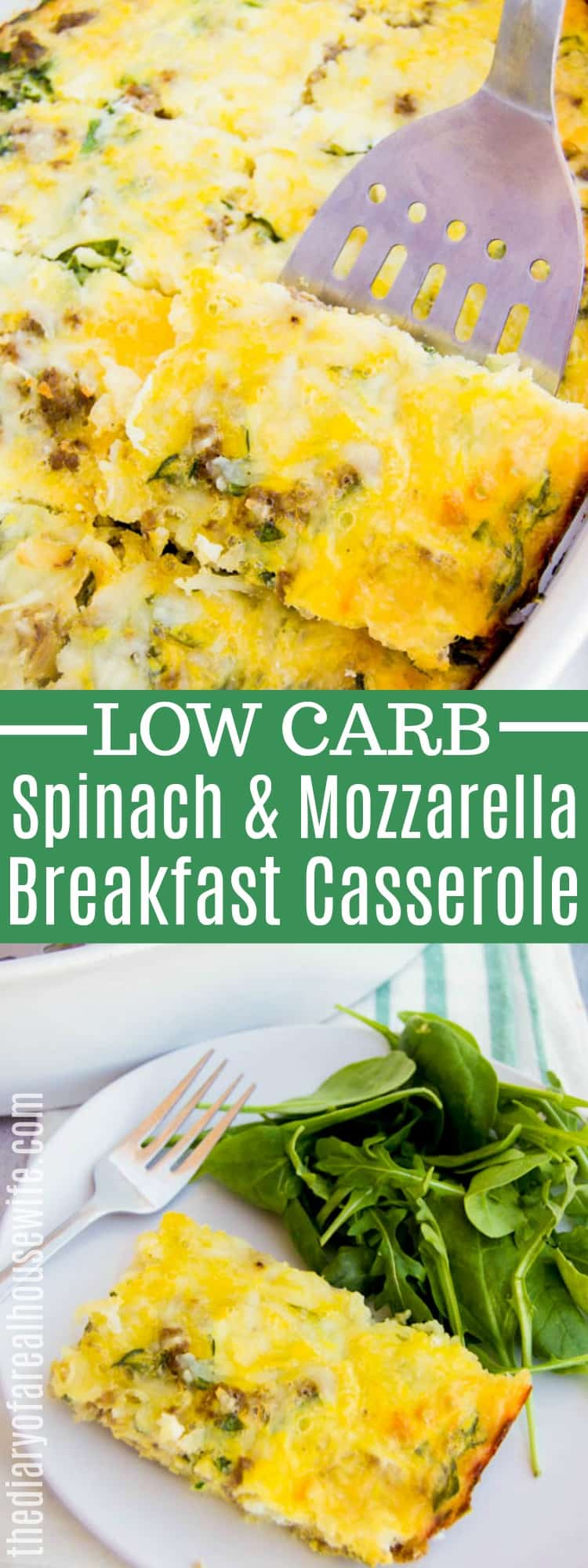 Spinach and Mozzarella Low Carb Breakfast Casserole