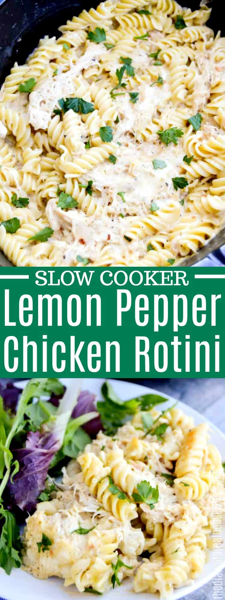 Slow Cooker Lemon Pepper Chicken and Rotini