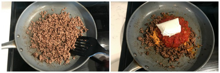 cooking ground beef in skillet