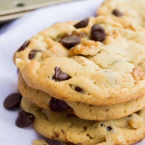 This soft and chewyWalnut Chocolate Chip Cookies are the perfect combination of sweet and salty. The soft crunch of the walnuts are the perfect pair with the best chocolate chip cookie.