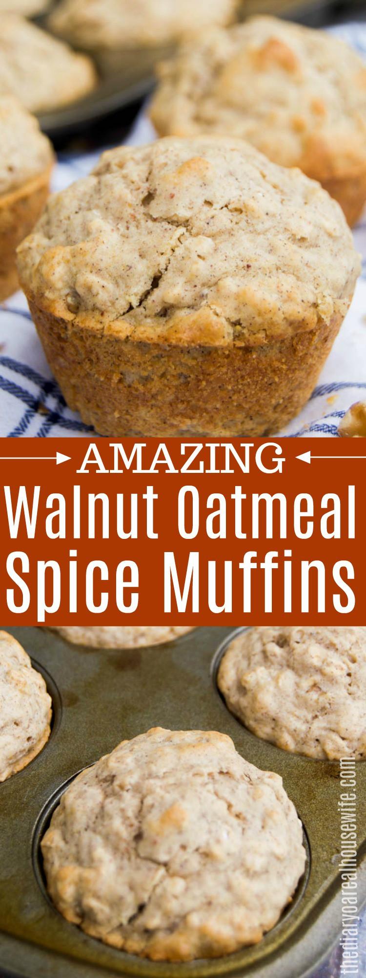 Walnut Oatmeal Spice Muffins