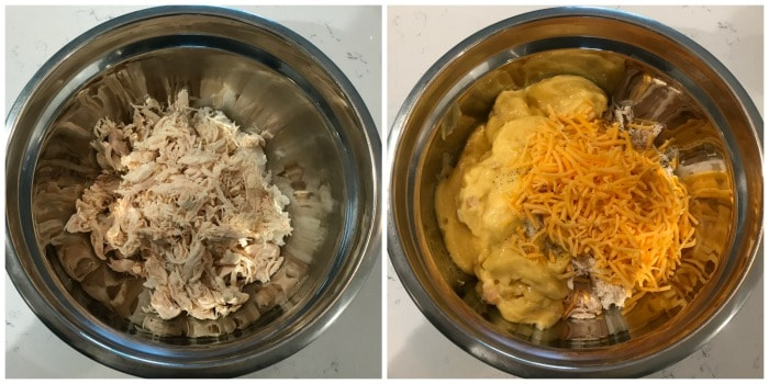 chicken and rice in a mixing bowl