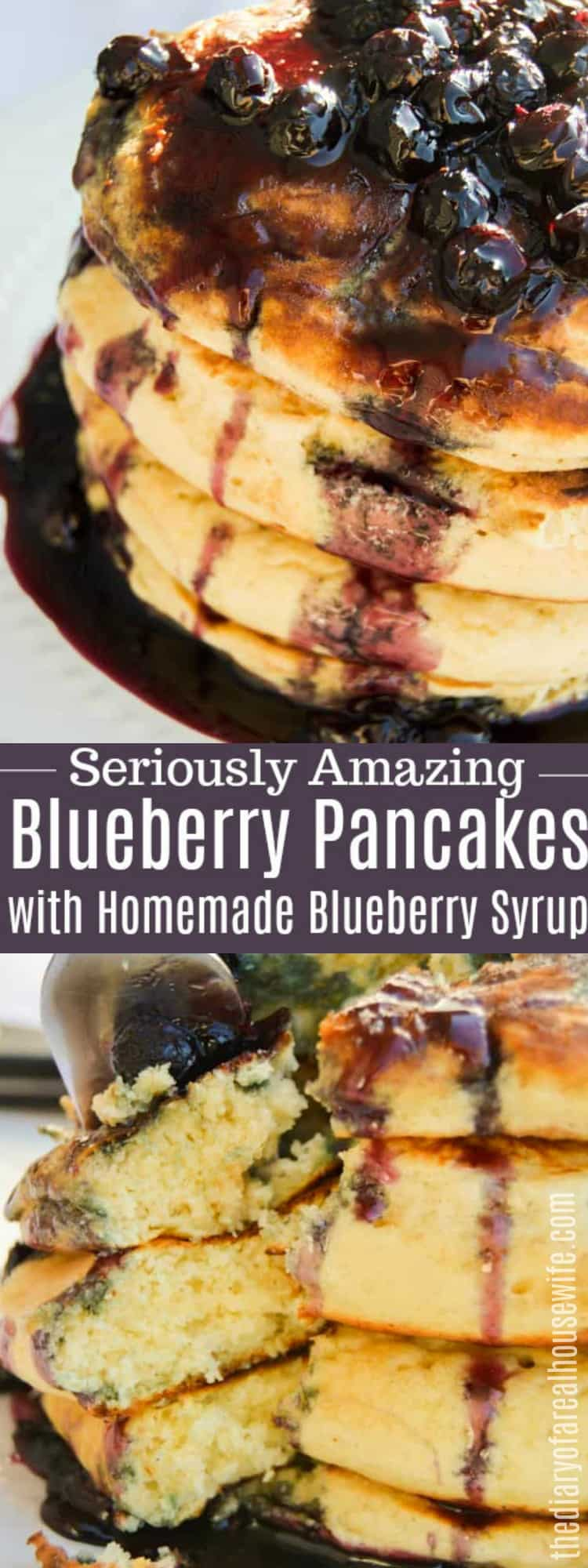 Blueberry Pancakes and Homemade Blueberry Syrup