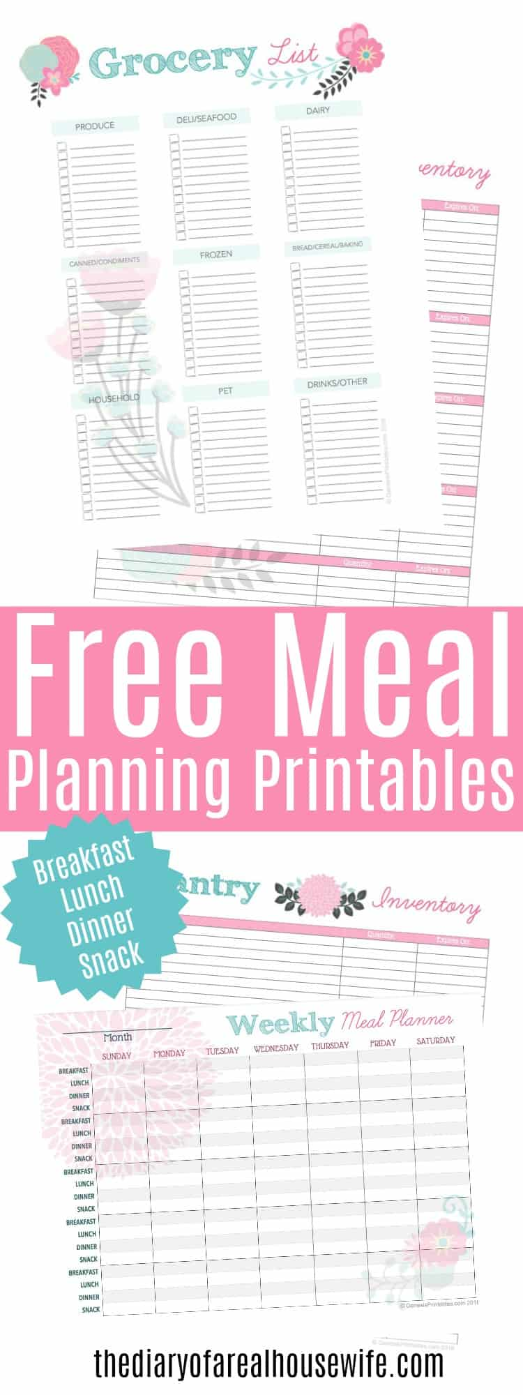 free meal planning printable the diary of a real housewife