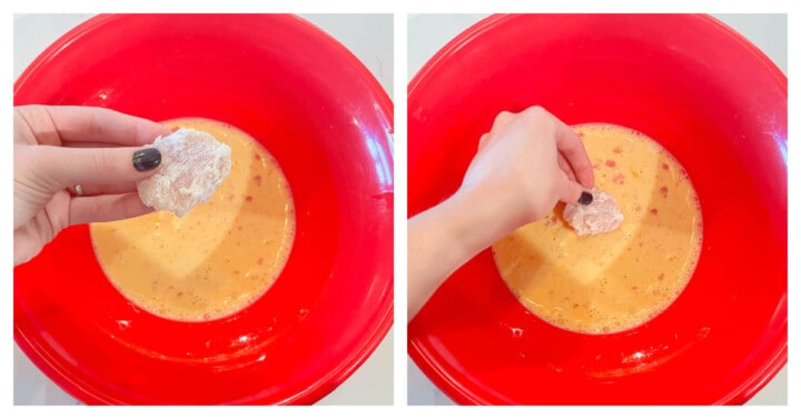 egg batter for chicken bites in red bowl
