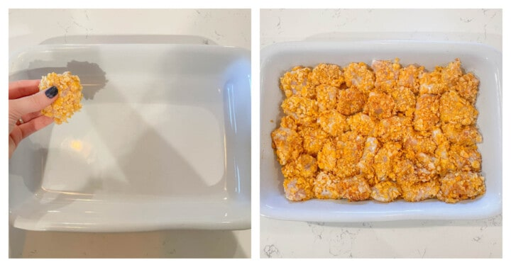 placing cornflakes breaded chicken in white casserole dish