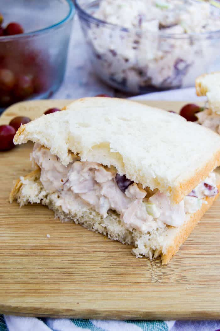 Grape Pecan Chicken Salad on white bread