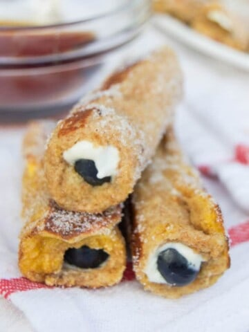 Blueberry Cream Cheese French Toast Roll Ups