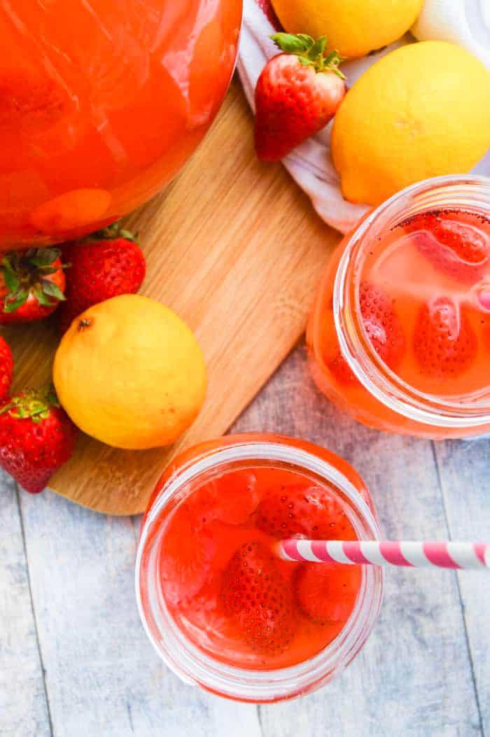 Strawberry Lemonade with fresh strawberries and lemons