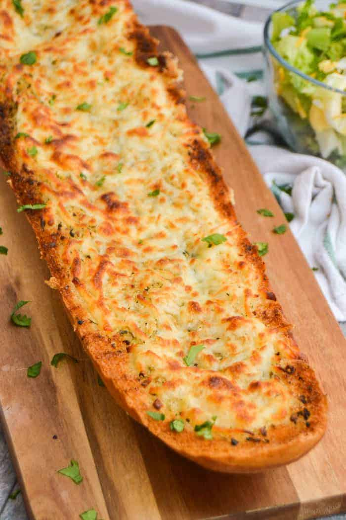 Easy Homemade Garlic Bread on wood board