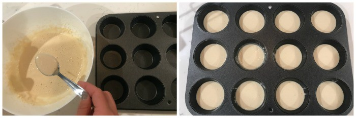 adding batter to the muffin pan