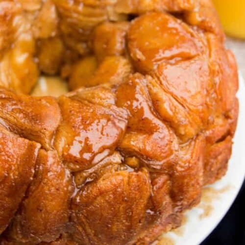 monkey bread and a glass of orange juice