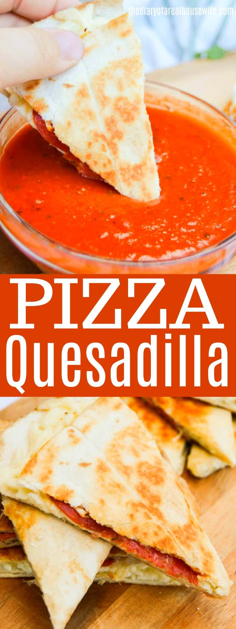 Pizza Quesadilla dipping in pizza sauce