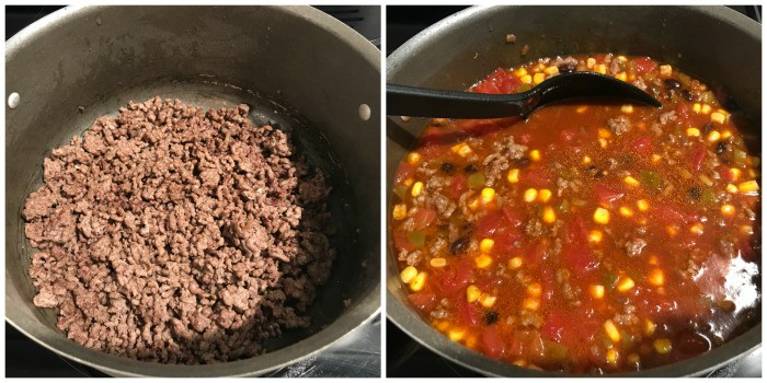 taco soup process pictures