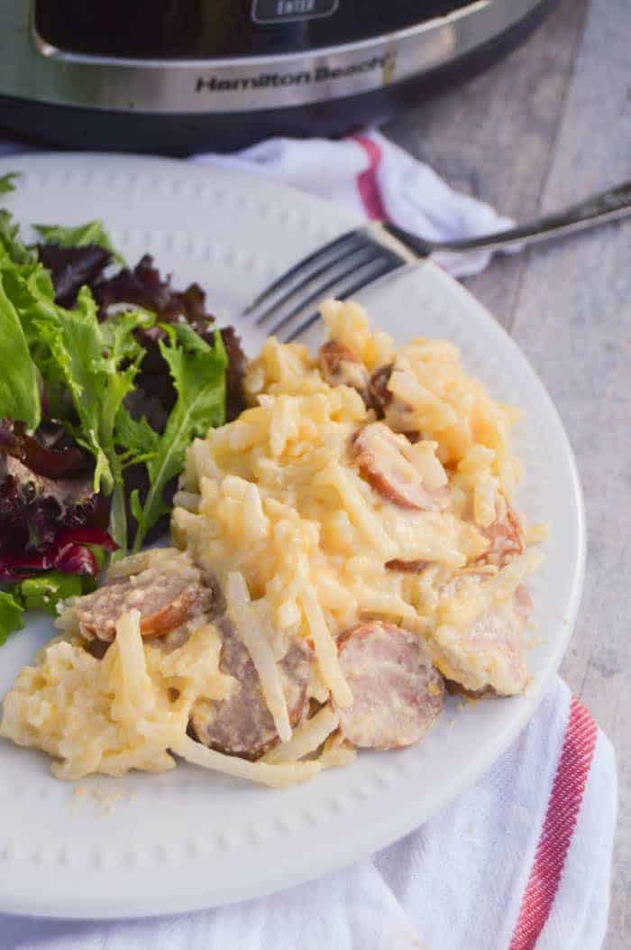 Slow Cooker Cheesy Potatoes and Smoked Sausage