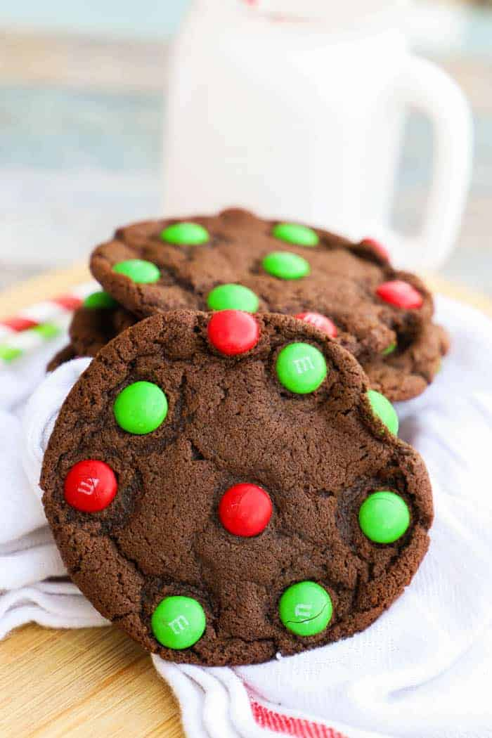 Chocolate M&M Christmas Cookie