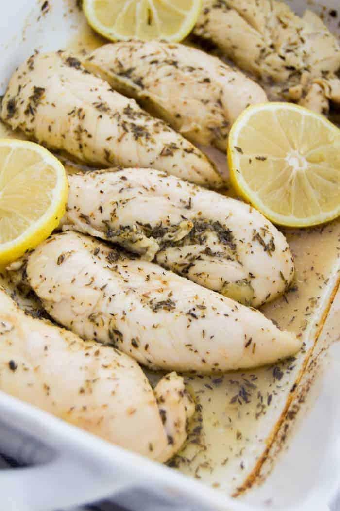 Lemon Garlic Chicken Tenders in a white casserole dish