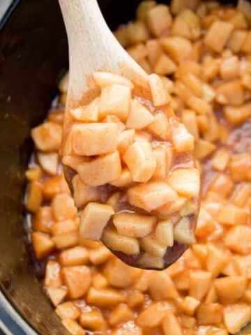 Slow Cooker Apple Pie Filling on a spoon