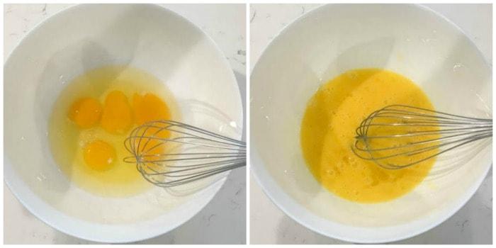 whisking egg in bowl