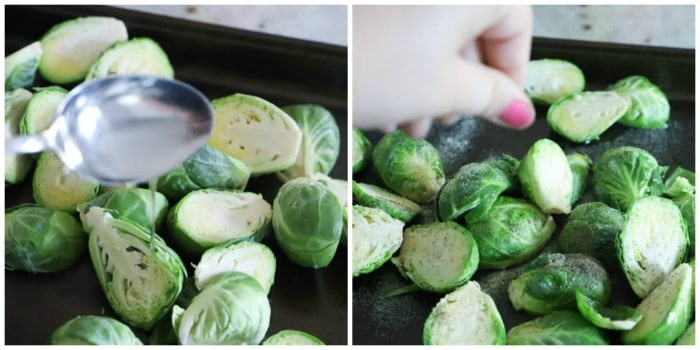 adding oil and salt to Roasted Brussel Sprouts