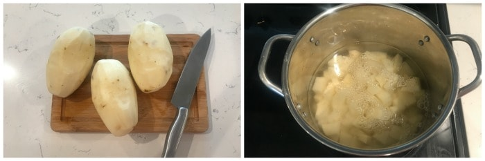 dicing and boiling potatoes