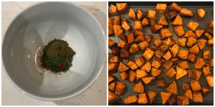 Roasted Sweet Potatoes seasoning being mixed