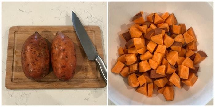 dicing sweet potatoes