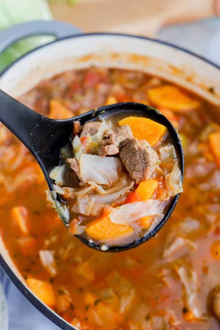 Sweet Potato Beef Stew in a spoon