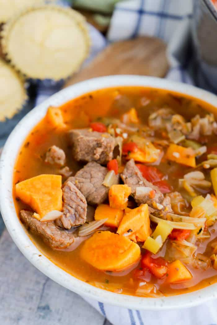 close up picture Sweet Potato Beef Stew