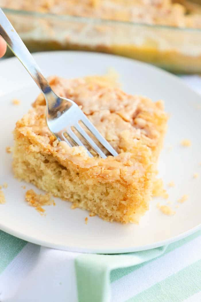 Small bite of Cinnamon Roll Cake