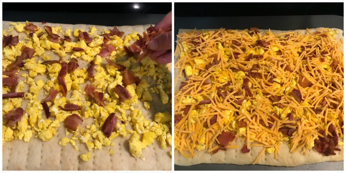 eggs and bacon then cheese being placed on the crust
