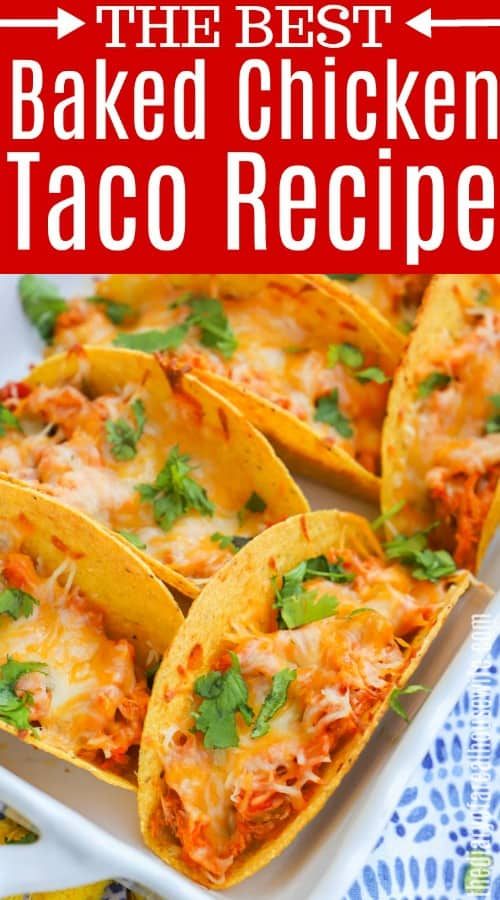 Baked Chicken Tacos pin image with text