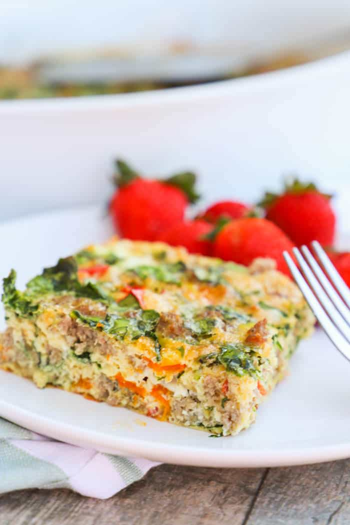 Make Ahead Low Carb Breakfast Casserole on a white plate with a fork