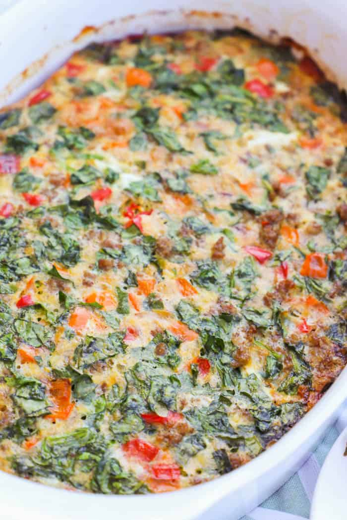 Make Ahead Low Carb Breakfast Casserole in a white casserole dish
