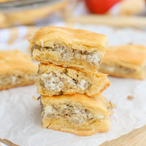 3 Ingredient Sausage Breakfast Bites on top of each other.
