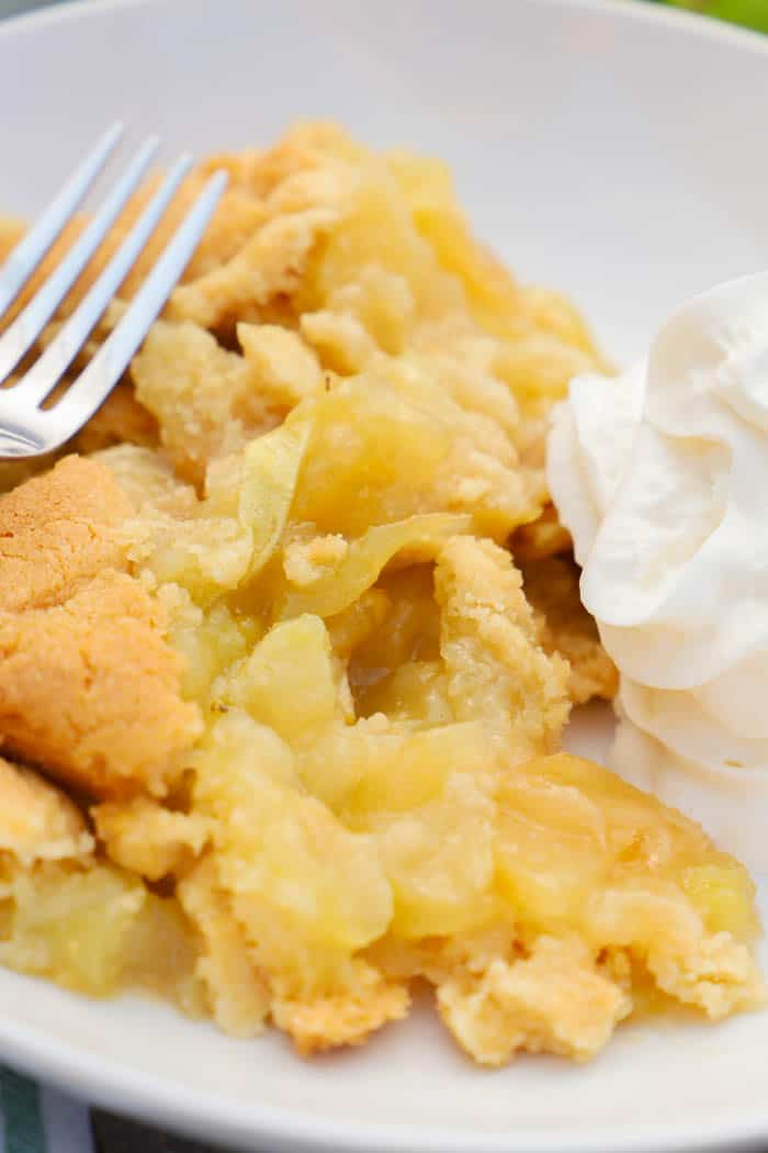 Close up Apple Cobbler with fork