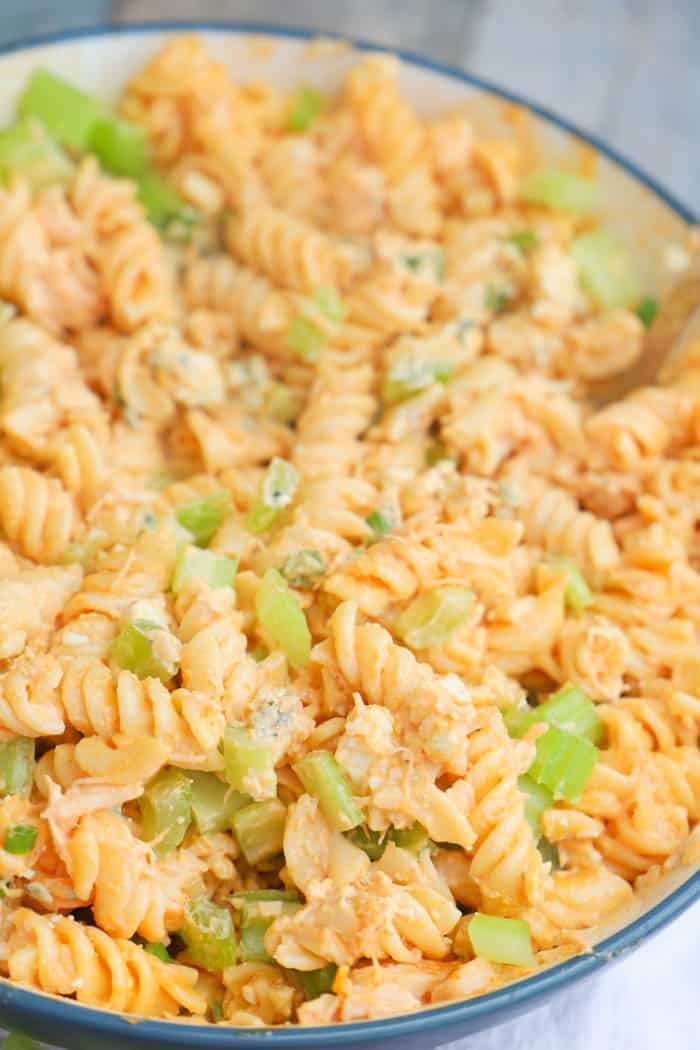Buffalo Chicken Pasta Salad in a large blue bowl