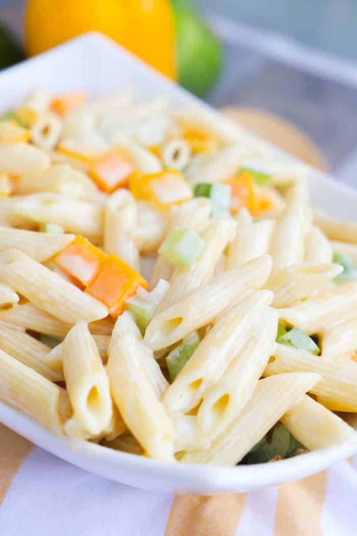Classic Pasta Salad in a white bowl