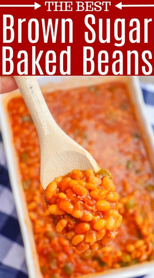 stopping out Brown Sugar Baked Beans with a spoon