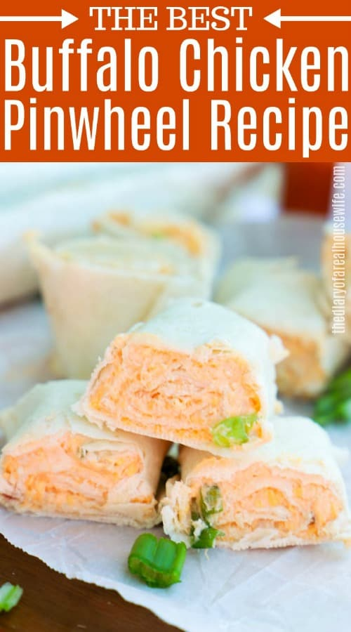 Buffalo Chicken Pinwheels image with title text
