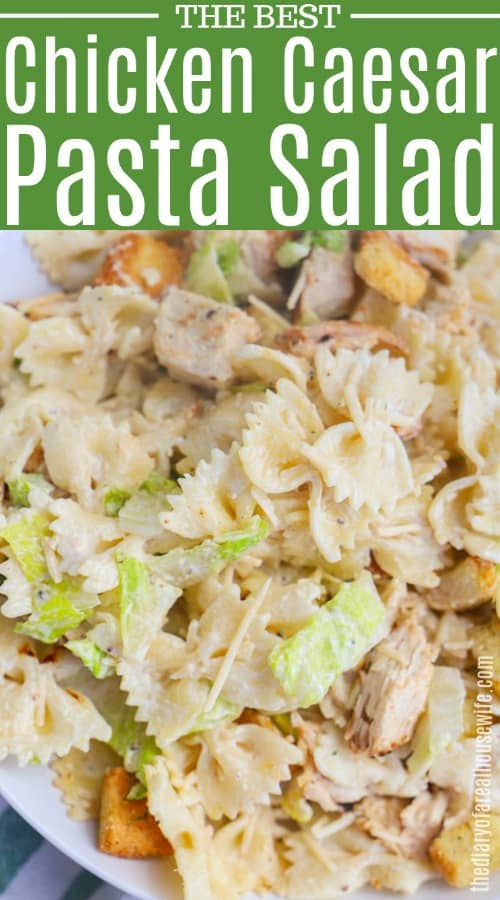 Chicken Caesar Pasta Salad in a white bowl