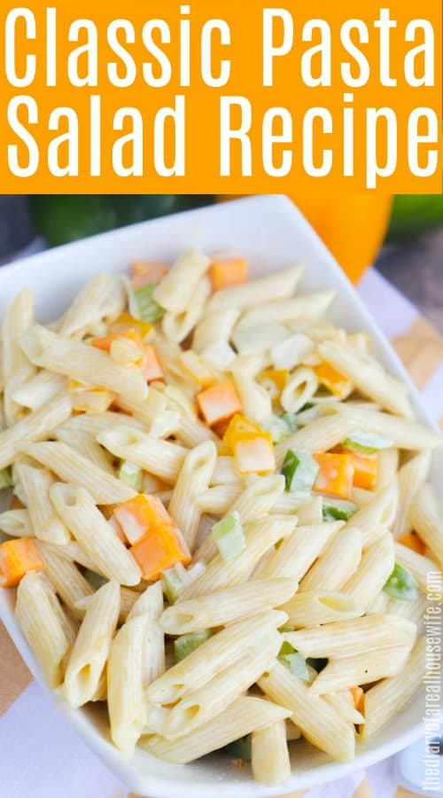Classic Pasta Salad with text on image