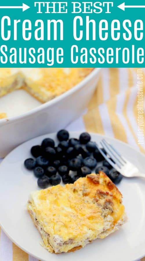 Cream Cheese Sausage Casserole with text on image