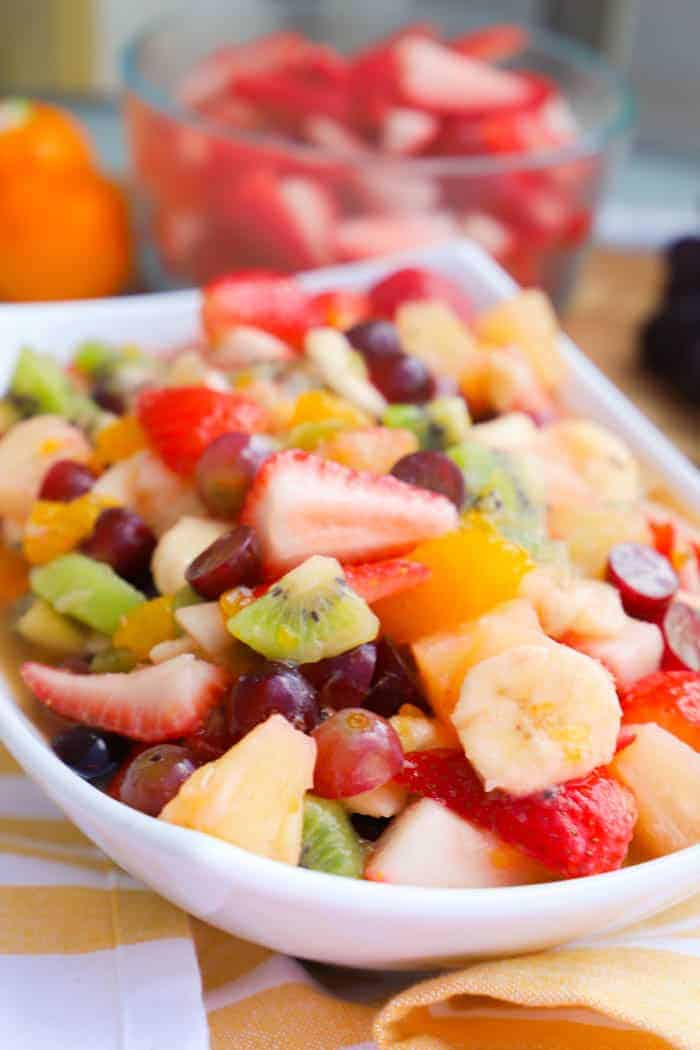 fruit salad in a white bowl