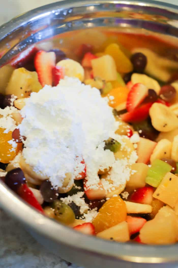 Fruit Salad with powdered sugar