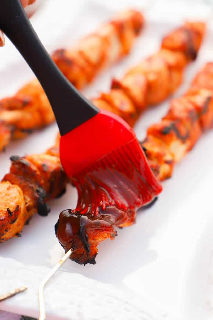Grilled BBQ Chicken Kabobs with a bbq brush