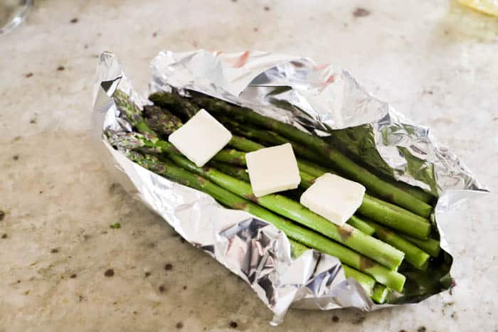 Grilled Asparagus with butter on top