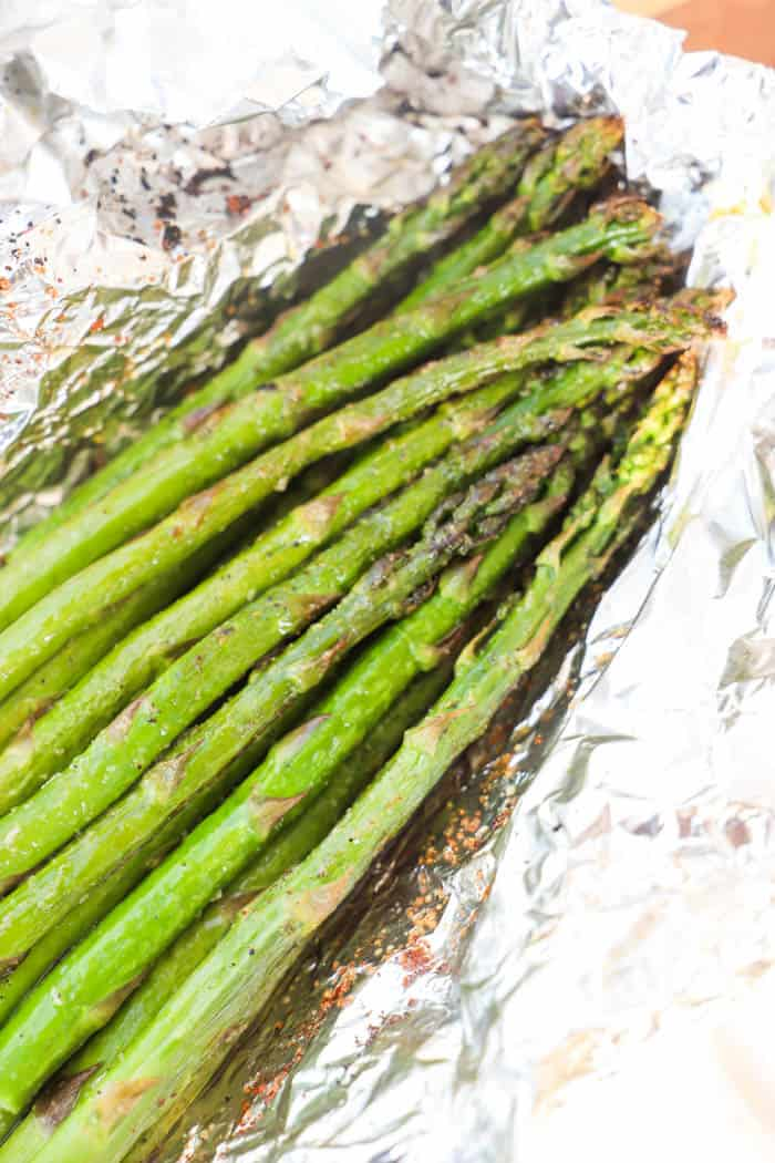 Grilled Asparagus cooked and in foil