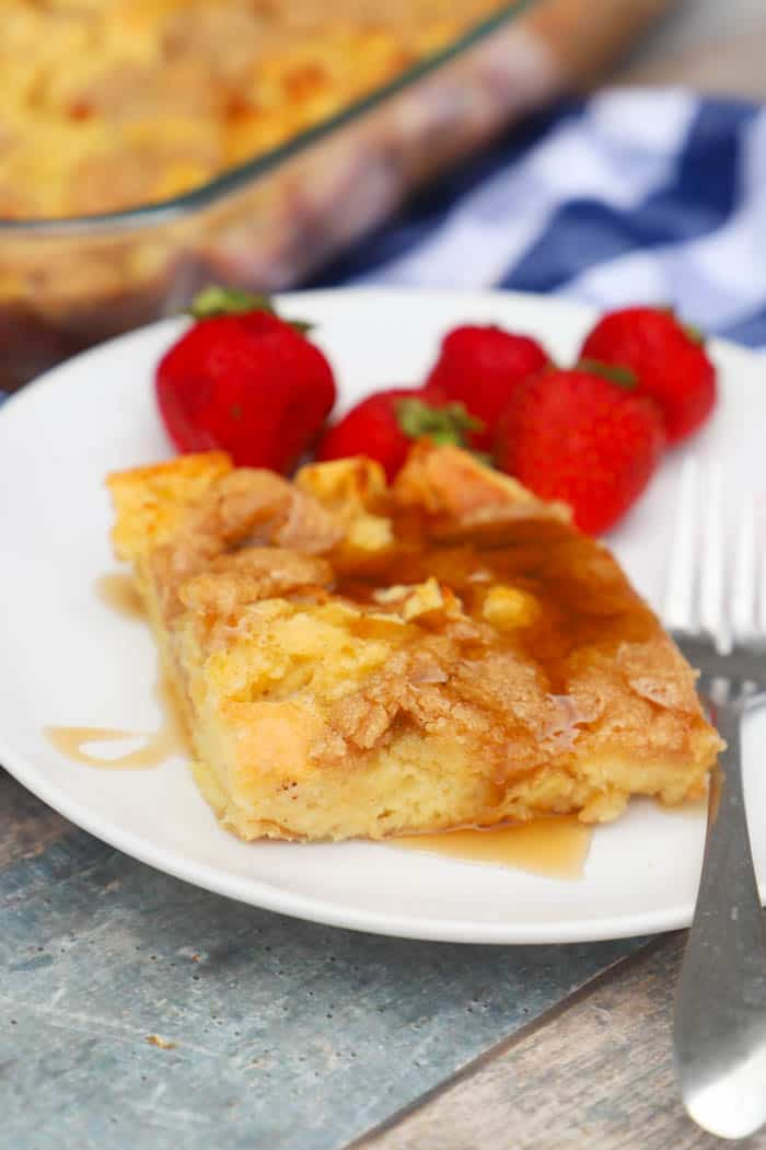 French Toast Casserole on a plate with strawberries