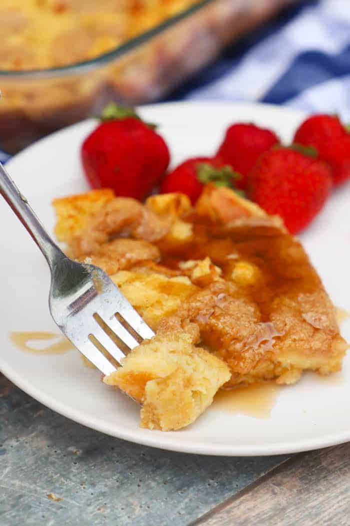 French Toast Casserole with a fork